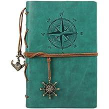 Liying Retro Skizzenblock Tagebuch Notizbuch Softcover DIN A6 Kraftpapier Blanko Geschenkbucher Reisetagebuch Blau