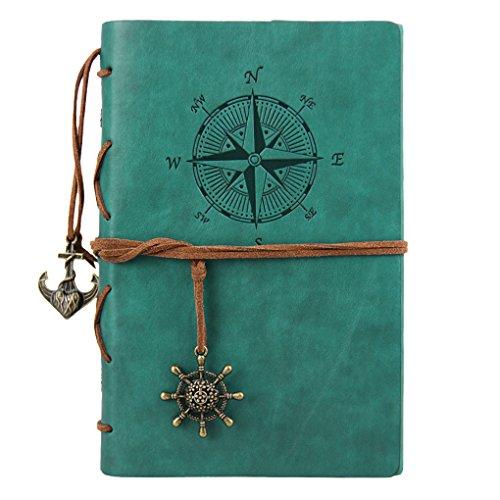 Liying Retro Skizzenblock Tagebuch Notizbuch Softcover DIN A5 Kraftpapier Blanko Geschenkbucher Reisetagebuch Blau