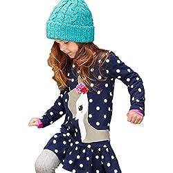 Vestidos Niña Bebe, K-youth® Baratas Bebe Niño Ropa Bebe Niña Invierno Navidad Venado Patrón de cervatillo lunares Vestido de manga larga (Azul oscuro, 2-3 Años)