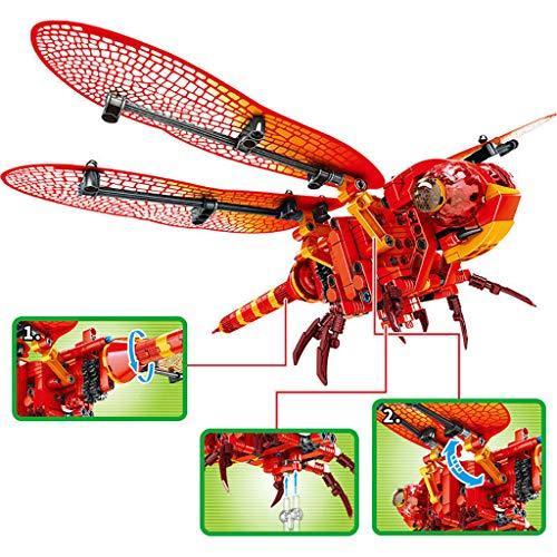 Mitlfuny Kinder Erwachsene Entwicklung Lernspielzeug Bildung Spielzeug Gute Geschenke,Simulierte Insekten-Bienen-rote Libellen-Baustein-Ziegelstein-pädagogische Spielwaren (Hubschrauber I Phone)