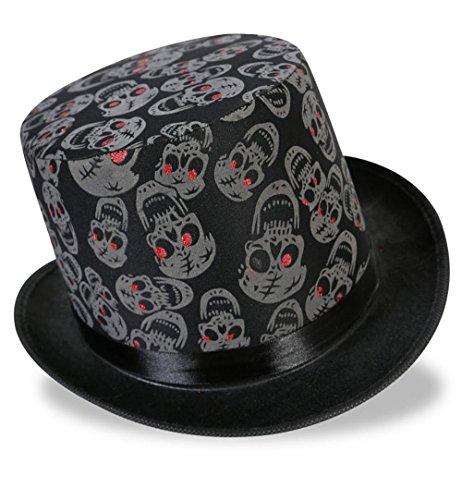KarnevalsTeufel Zylinder Totenkopf in Schwarz für Erwachsene Zombiehut Halloween Accessoire