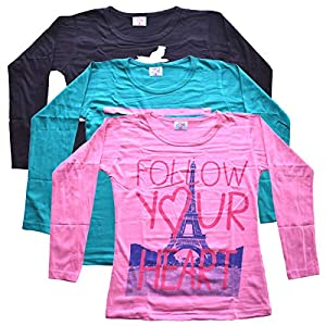 Girls Top Full Sleeve Top T Shirts Set of 3 Regular Fit Size L Cotton #1 For 12-14 Years Multicolor