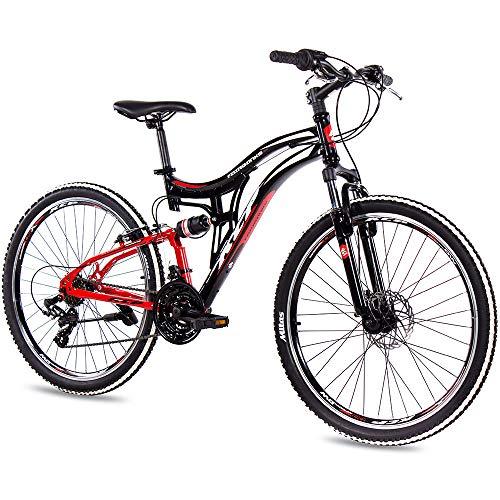 KCP 26 Zoll Mountainbike Fahrrad - MTB Fairbanks schwarz rot - Vollfederung Jugendrad Mountain Bike Unisex für Jungen Herren und Damen, MTB Fully mit 21 Gang Shimano Schaltung -