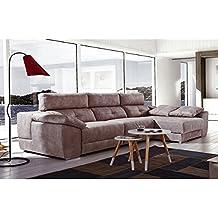 Sofá tres plazas con 2 relax eléctricos más chaiselongue derecha modelo MEMORY tapizado en tela.