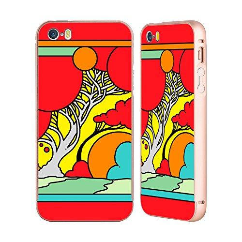 Ufficiale Howie Green Bolle Paesaggio Oro Cover Contorno con Bumper in Alluminio per Apple iPhone 5 / 5s / SE Albero Rosso