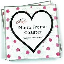 Set di 2sottobicchieri in vetro margherite, colore: Rosa con cuore spazio personalizzati per foto di bambini Pets etc
