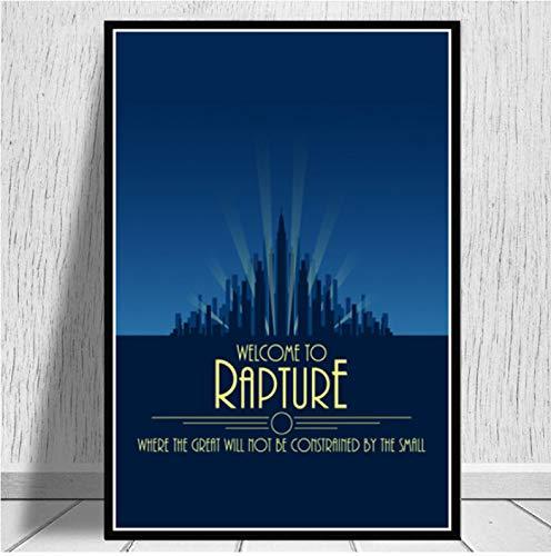 Poster Und Drucke Bioshock Rapture Videospiel Abdeckung Retro Vintage Kunst Malerei Leinwand Wandbilder Für Wohnzimmer Wohnkultur 40X60 cm Ohne Rahmen
