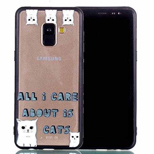 Preisvergleich Produktbild Hülle für Galaxy A5 2018/A8 2018 Silikonhülle Dünn, 2 in 1 Premium Matt TPU Case Transparent Handyhüllen Ultra Slim Cover Bumper-Style TPU mit von Relief Muster für Samsung Galaxy A5 2018/A8 2018 Case Cover ( S ) (6)