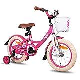HILAND Petal 14 Zoll Kinderfahrrad für Mädchen 3-5 Jahre mit Korb, Stützräder, Handbremse und Rücktritt Pink
