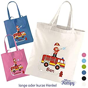 MissRompy Stoffbeutel Feuerwehr (834) Einkaufstasche Jutebeutel Wechselkleidung