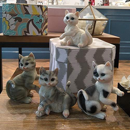 OYBB Ornamente Statuen Kitty Ornamente Nette Simulation Tier Harz Handwerk Kreative Ideen zu senden Freundin Mädchen Geburtstagsgeschenk 4 Sätze