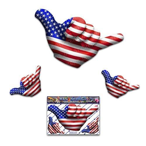 Kleine amerikanische Flagge US HANG LOSE Shaka Freundschaft lustige Brandung Auto Aufkleber Aufkleber - ST00055US_SML - JAS Aufkleber - Flagge Us Usa Amerikanische Flaggen