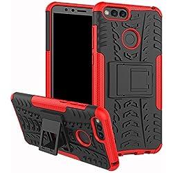 XINYUNEW Funda Huawei Honor 7A/Y6 2018, 360 Grados Protective+Pantalla de Vidrio Templado Caso Carcasa Case Cover Skin móviles telefonía Carcasas Fundas para Huawei Honor 7A/Y6 2018-Rojo