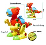 YIXIN Set of 2 Dinosaur Assembly Disassembly Toy and Pull Toys for Kids 3 Years Old with Screw Nuts