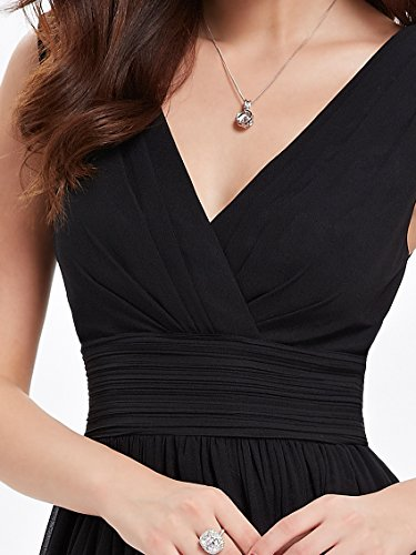 Ever Pretty Doppelt V-Ausschnitt Rueschen an Taille Elfenbein Kurz Damen Party Kleid 03989 Schwarz 1