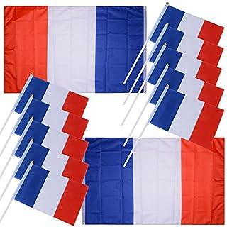 DEOMOR (12 Stück) 2 Stück Französische Flagge Fahne 140cm*90cm + 10 Stück Französische Hand Flagge 14cm*21cm Fahne mit Stab Stockflagge Stock Fahne