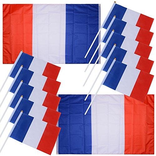 DEOMOR 10pcs Banderas de Francia de Mano 14x21cm + 2pcs Banderas Francesas Grandes 140x90cm para Copa del Mundo Partido de fútbol Conferencia Día Nacional Deportes Decoración Bar Hotel