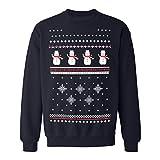 Dunkle Blau Schneemann Weihnachts-Sweatshirt. Eine tolle leichte und bequeme Alternative zum Weihnachtspullover. (L)