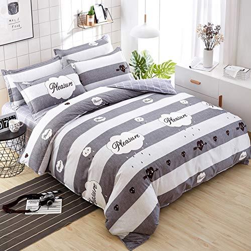 JWANS Bettlaken Bettbezug Kissenbezug 4 Stück Kombination Bettwäsche Set Farbe Mix Streifen gedrucktes Muster Gesteppte Patchwork Baumwolle Bettwäsche Twin Queen
