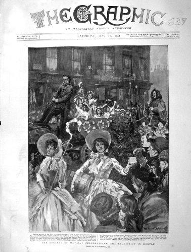 Cortège 1901 de Célébrations de Mayday Hoxton Robinson par original old antique victorian print