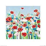 L' Arte Gruppo Janet Bell (Fiordalisi e Papaveri)–Stampa Artistica 40x 40cm, Carta, 40x 40x 1.3cm
