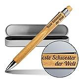 Kugelschreiber mit Namen Beste Schwester der Welt - Gravierter Holz-Kugelschreiber inkl. Metall-Geschenkdose