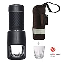 Staresso Portable Manual Coffee Machine with Espresso Coffee Capsules Cappuccino Quick Cold Brew All-in-One for Home Office Travel Outdoor Camping (Black)