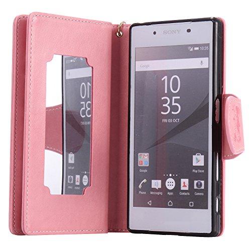 Etui Sony Xperia Z5 , Anfire Fille et Papillon Motif Peint Mode PU Cuir Étui Coque pour Sony Xperia Z5 (5.2 pouces) Housse de Protection Luxe Style Livre Pochette Étui Folio Rabat Magnétique Coque Cou Rose