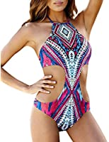 OYMMENEY Retro Damen Tankini Bikini Einteilige one piece Badenmode Monokini Badeanzug Oberteil und Hose