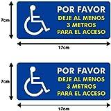 Autodomy Pegatinas Discapacitado Minusválido por Favor Dejé al Menos 3 Metros para el Acceso Pack 2