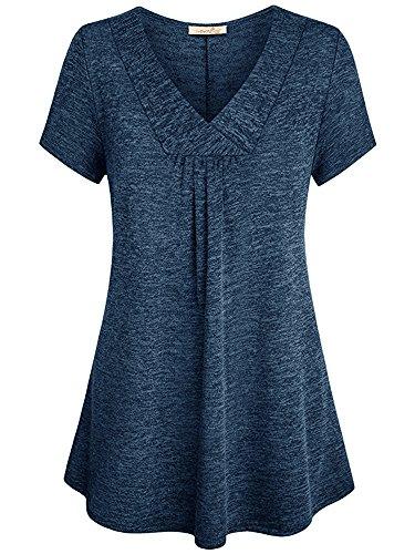 Summer Mae Women Short Sleeve T-Shirt Solid Loose Casual V Neck Cotton Top