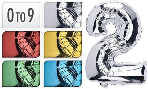 10 Stück Zahlen Folienballons, 35cm hoch, Alle Zahlen/Ziffern 0-9, Folienballons für Luft oder Helium als Geburtstag, Jubiläum, Hochzeit oder Abschluss Geschenk, Party Dekoration oder Überraschung (Silber) (Geschenk Hochzeit Jubiläum)
