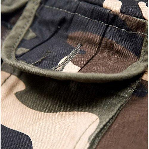 Feoya Herren Freizeithose Wasserwäsche Moleskinhose Tarnung Hose Mehrere Tasche Cargohose aus Baumwolle Loose-Fit Outdoor Arbeitshosen in Verschiedener Farben Tarnfarben grün