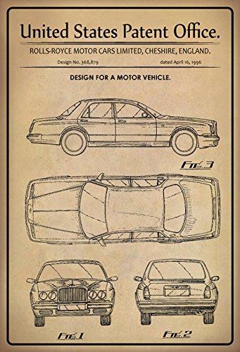 ComCard US Patente - Design for A Motor Vehicle - Entwurf für EIN Kraftfahrzeug - Rolls-Royce England, 1996 - Design No 368.879 - Schild aus Blech, Metal Sign, tin
