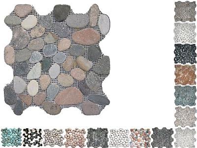 1 Netz Flusssteine gesägt MIX I Riverstones von Mosaikdiscount24 auf TapetenShop