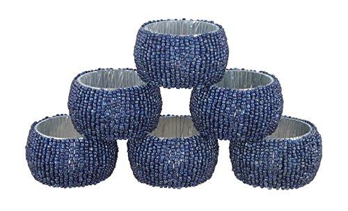 Ring Gelber Schmetterling (Shalinindia Perlen Serviettenringe - Set 6 Ringe - Blaue Serviettenringe Set - Durchmesser-1,5 Zoll)
