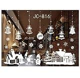 Tefamore Weihnachten Wandaufkleber Winter Fenster Dekor, Weihnachtsmann Schneeflocke Schneemann Elch Rentier Wohnzimmer Selbstklebende Advent Dekoration Weiß (D)