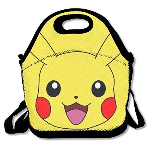 Greatbe Cute Pokemon - Pikachu Mit Fan Isolierte Lunchpaket Tote Handtasche Lunchbox Für Schüler Schule Kühler Picknick