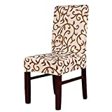 Aoklea(R) Super Fit Stretch Removable Short Dining Chair Cover Protector Seat Slipcover Washable for Hotel,Dining Room,Ceremony,etc.(ChampagneCoffee) by Aoklea by Aoklea