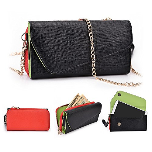 Kroo d'embrayage portefeuille avec dragonne et sangle bandoulière pour Archos 50b Platinum Black and Orange Noir/rouge