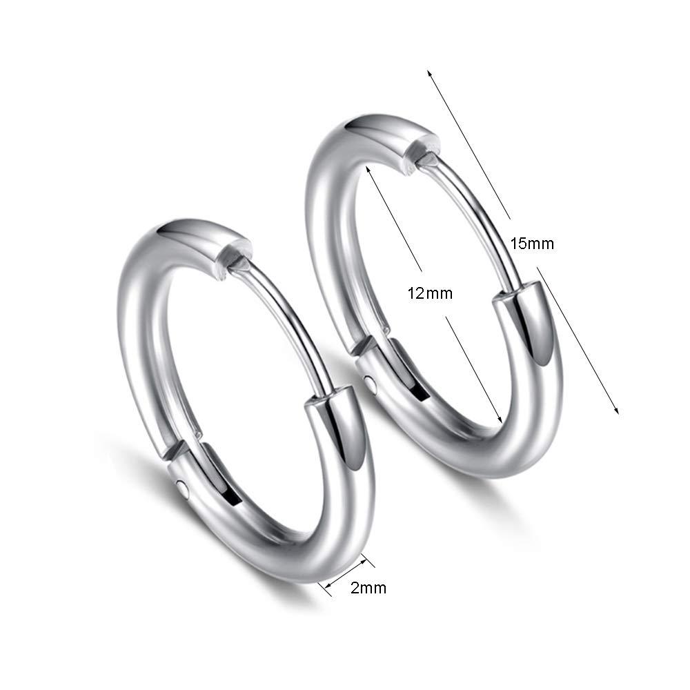 negozio online f13c8 518a1 5 Paia 15mm Orecchini a Cerchio in acciaio inossidabile per Uomo ...