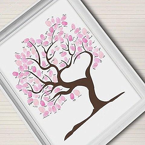 Impronte digitali Firma Tela pittura rosa albero regalo di nozze Wedding Decoration (include12ink colore), blank,