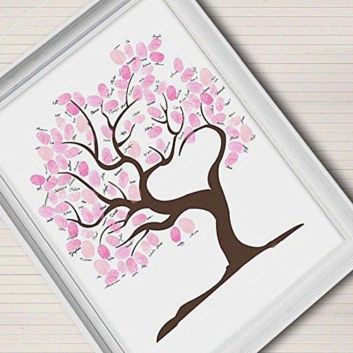Decorazione di nozze firma tela pittura rosa albero regalo di nozze (Include12Ink colore) di impronte digitali , blank ,