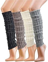 krautwear® Mujer Niña 1o 4pares calentadores calentadores Legwarmers grobs Electric kstulpen con lana de alpaca alpaca Zambaiti 30cm 80Negro Blanco Gris Beige