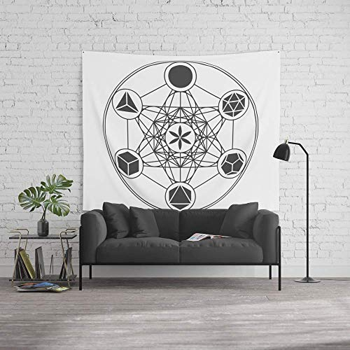 LilyNa Tapiz de Pared, tamaño Grande: 152 x 228 cm, Cubo de metatrón con sólidos platónicos y Semillas de la Vida