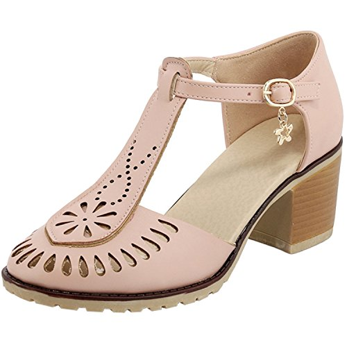 Oasap Women's Round Toe T-Strap Chunky Heels Sandals pink