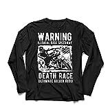 lepni.me Langarm Herren t Shirts Todesrennen - Ultimative Killerfahrt, Motorradrennen, Klassiker, Vintage, Retro-Schädel-Biker, Motorrad (X-Large Schwarz Mehrfarben)
