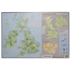Islas Británicas Irlanda & Atlas Mapa Escritorio–Almohadilla para ratón de Ordenador (595x 365mm)