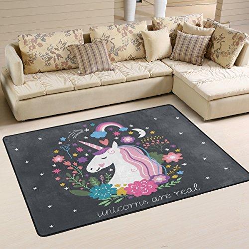 COOSUN Einhorn-Teppich rutschfest für Wohnzimmer Schlafzimmer 182,9x 121,9cm, Textil, multi, 36 x 24 inch