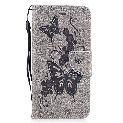 Crisant 3D Blumenschmetterling Drucken Design schutzhülle für Apple iPhone 7 Plus 5.5'',PU Leder Wallet Handytasche Flip Case Cover Etui Schutz Tasche mit Integrierten Card Kartensteckplätzen und Stän grau